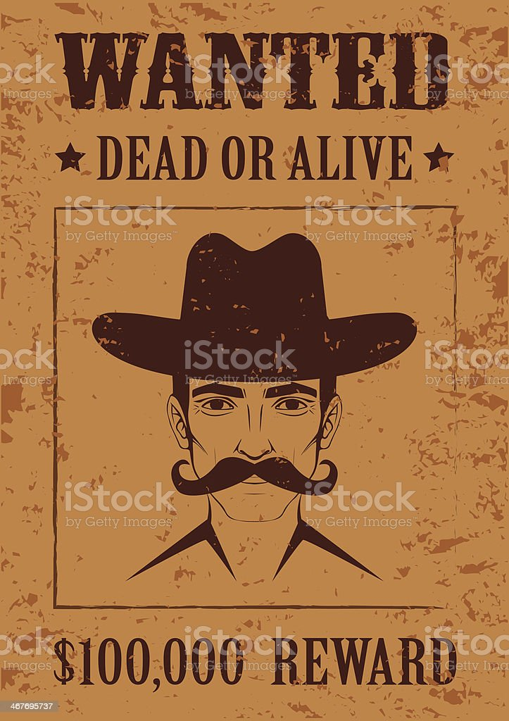 western vector poster, wanted dead or alive, vector art illustration