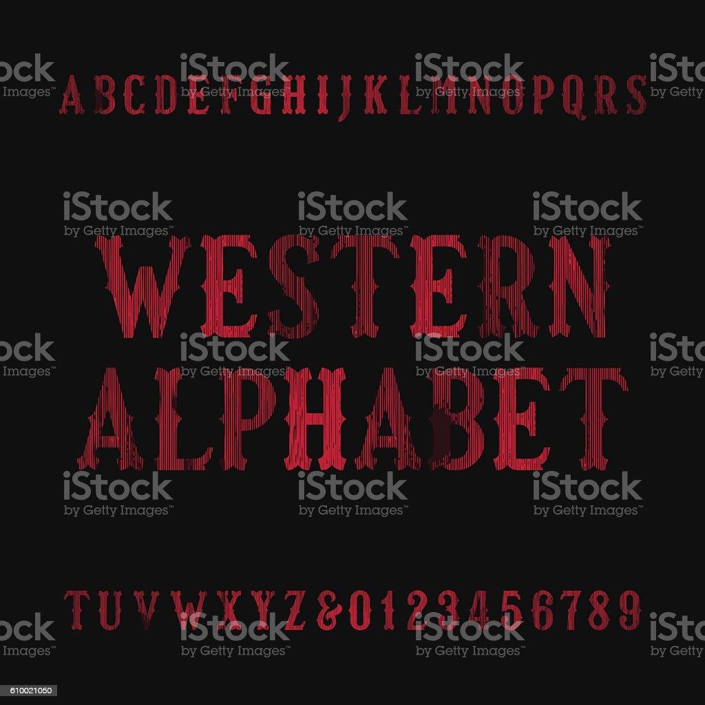 Western vintage alphabet font vector art illustration