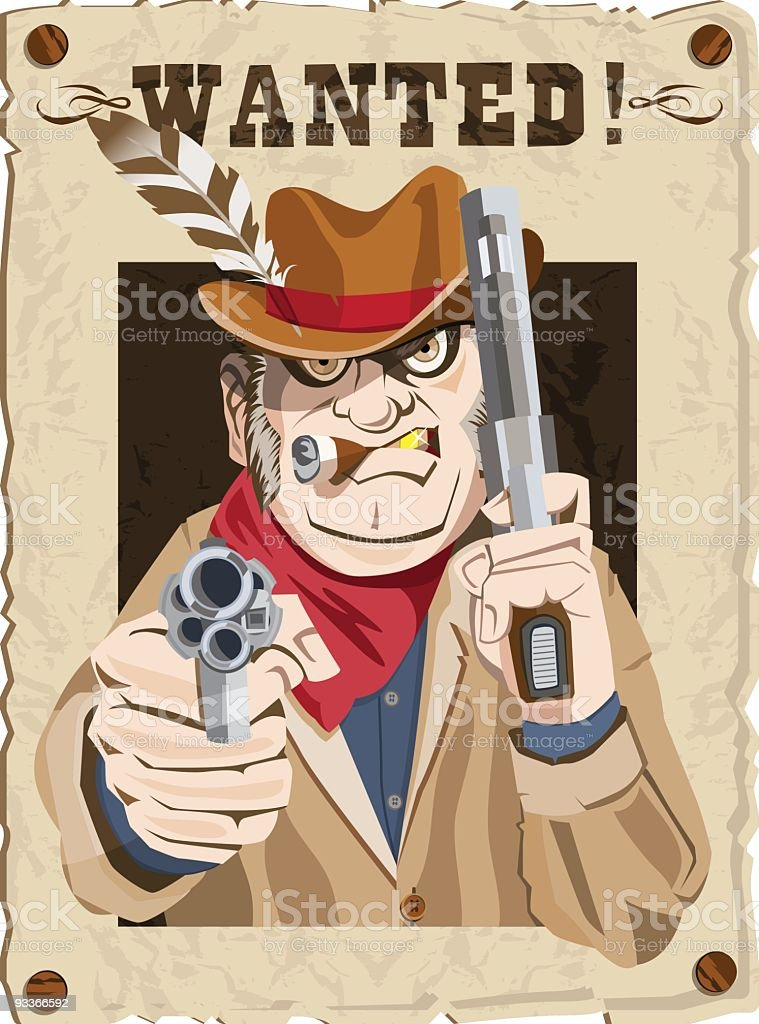 Western Wanted Poster royalty-free stock vector art