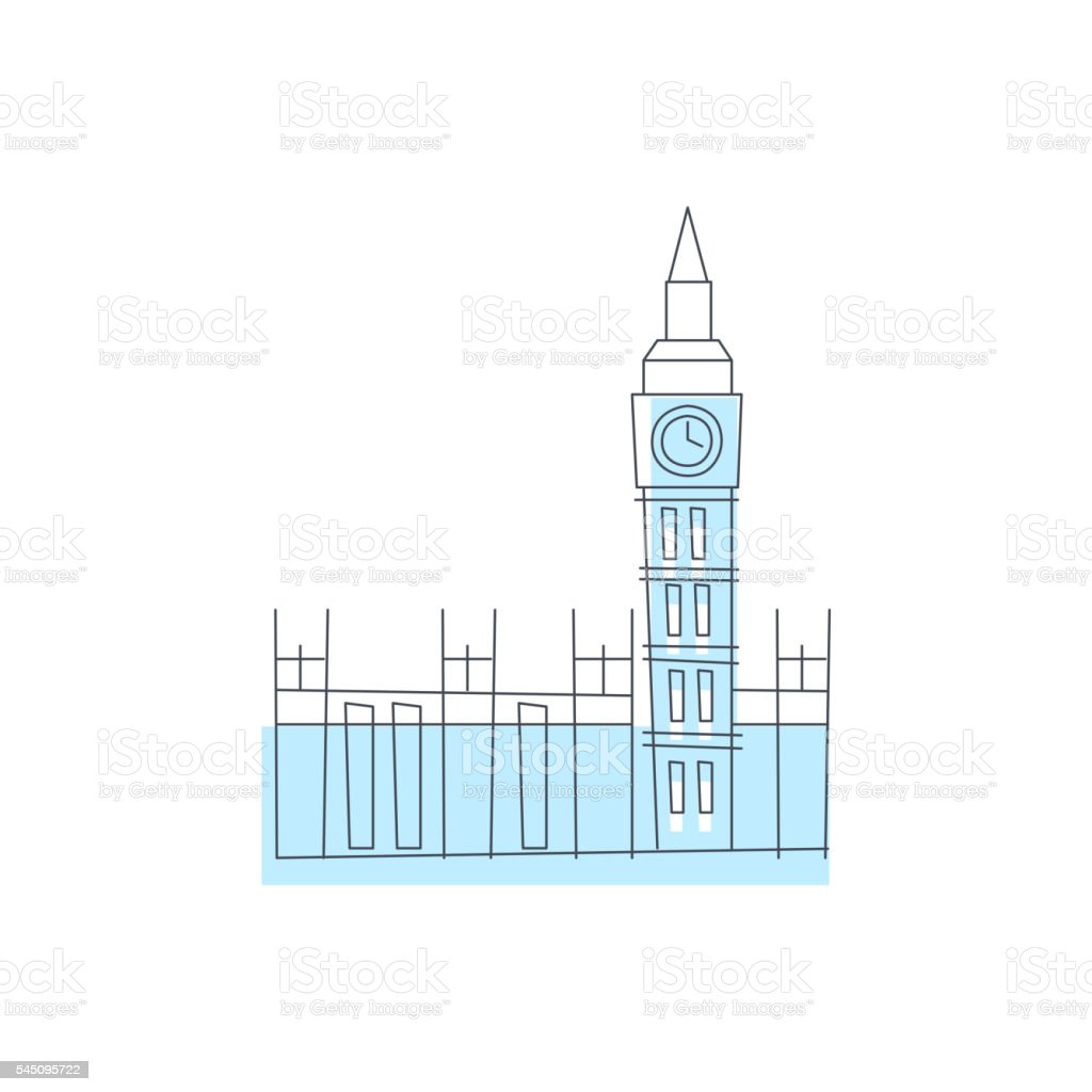 Westminster Abbey Building In London vector art illustration