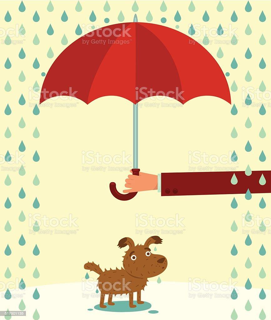 Wet dog under the rain. vector art illustration