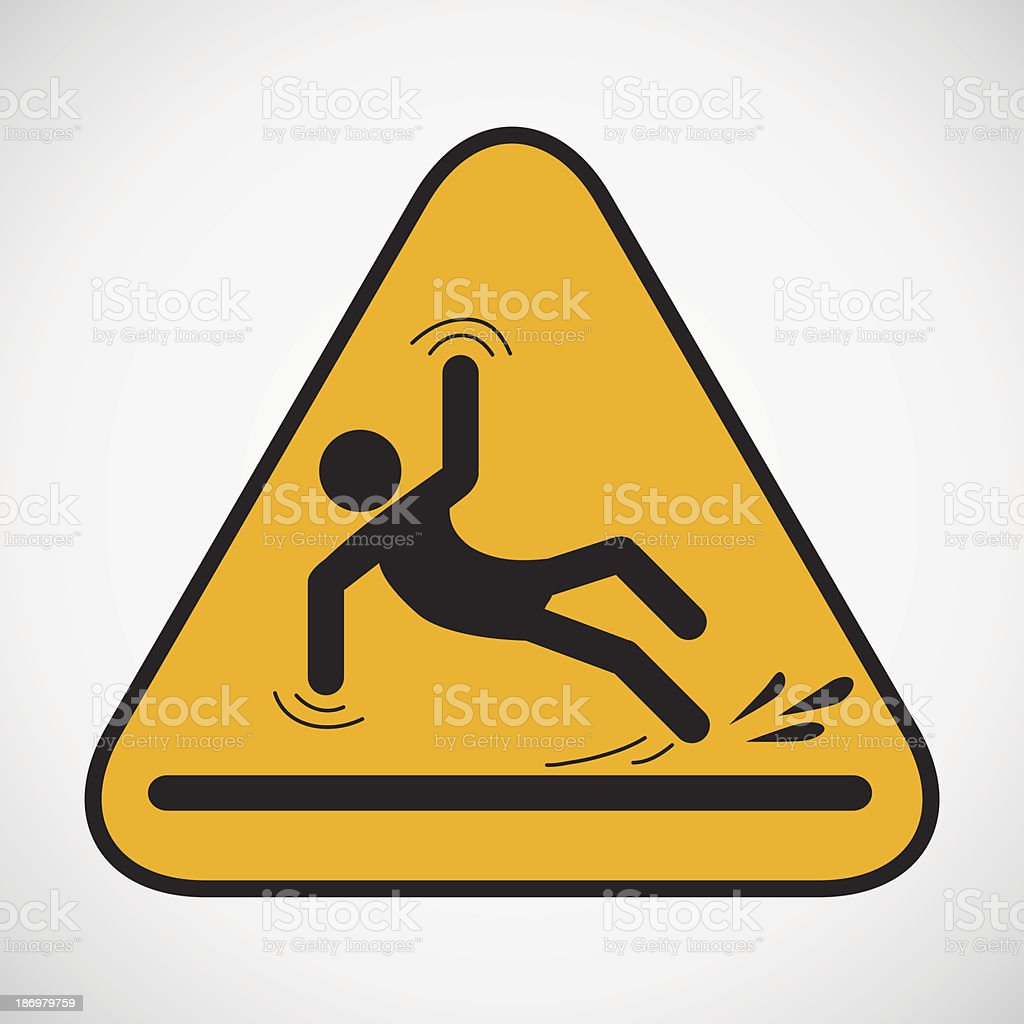 Wet floor caution sign. vector art illustration