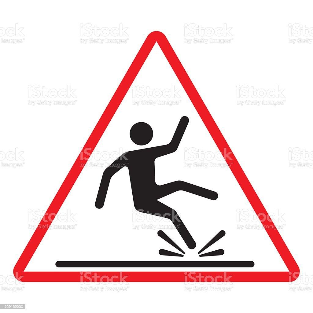 Wet floor caution sign. Vector illustration. vector art illustration
