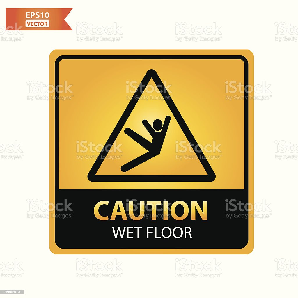 Wet floor text and sign. royalty-free stock vector art