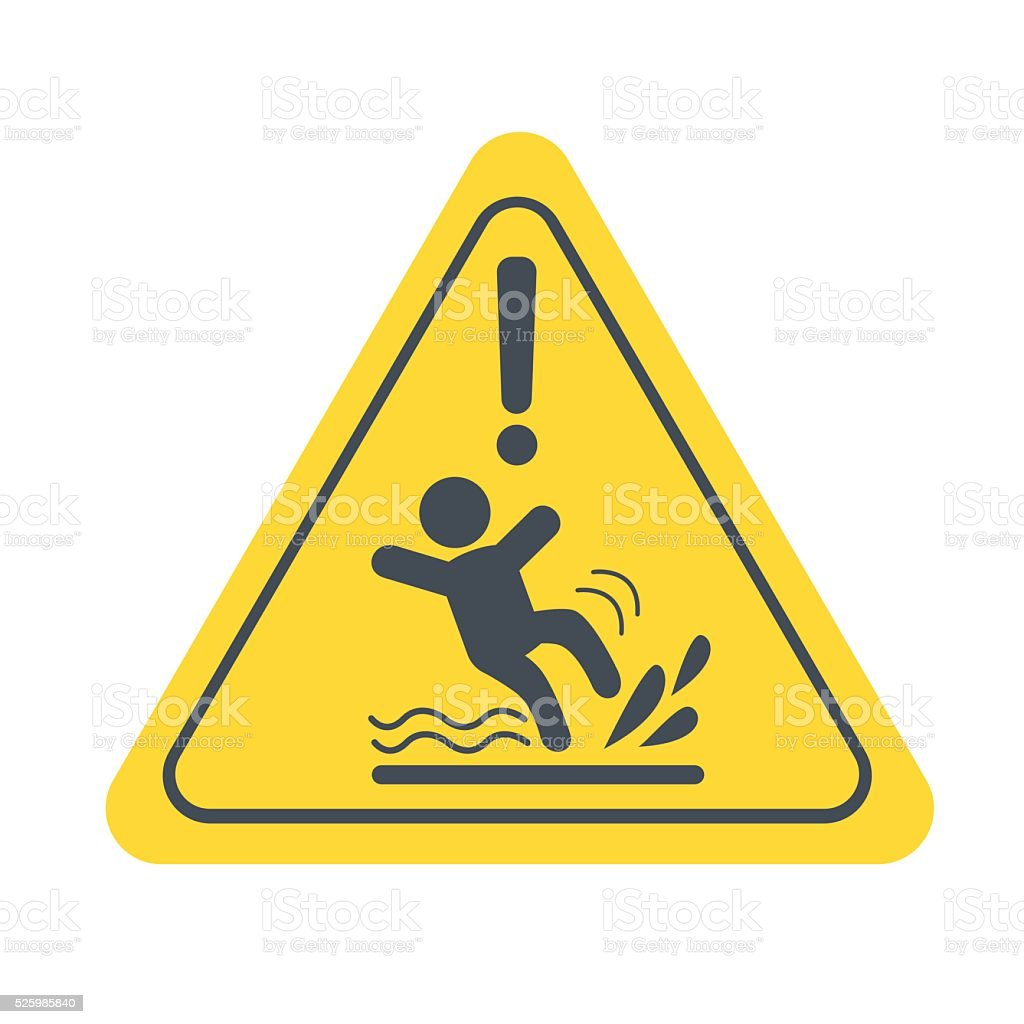 wet floor vector art illustration