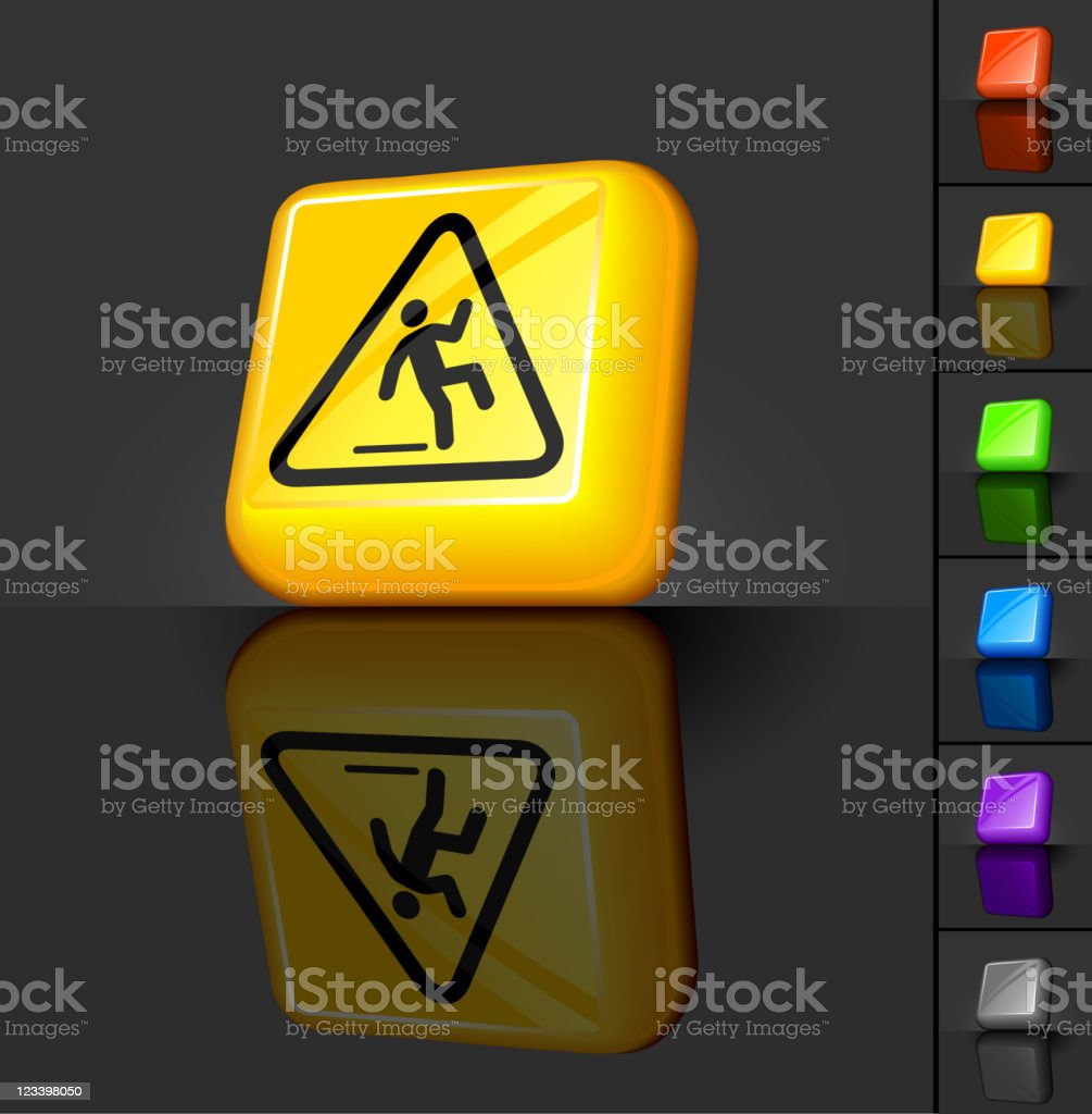 wet floor warning sign 3D button design royalty-free stock vector art
