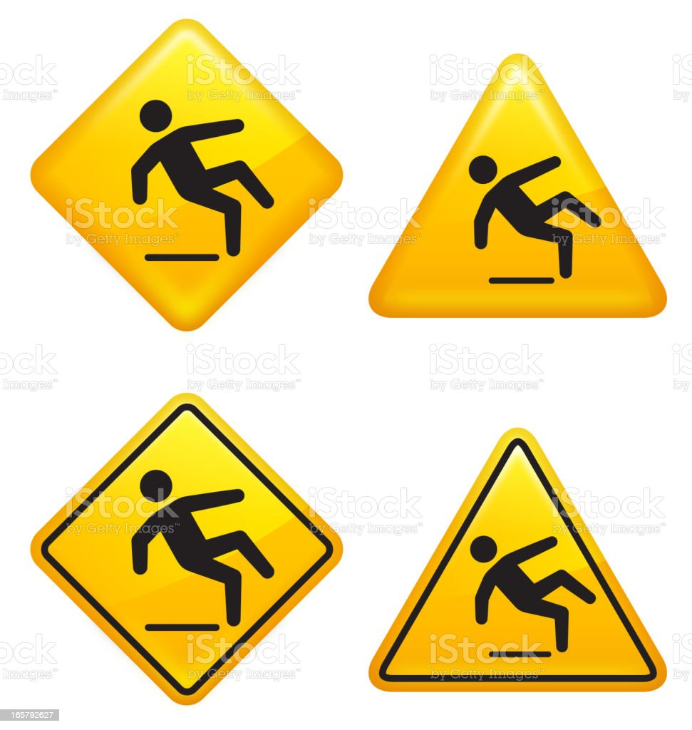 Wet Floor Warning Street Sign vector art illustration