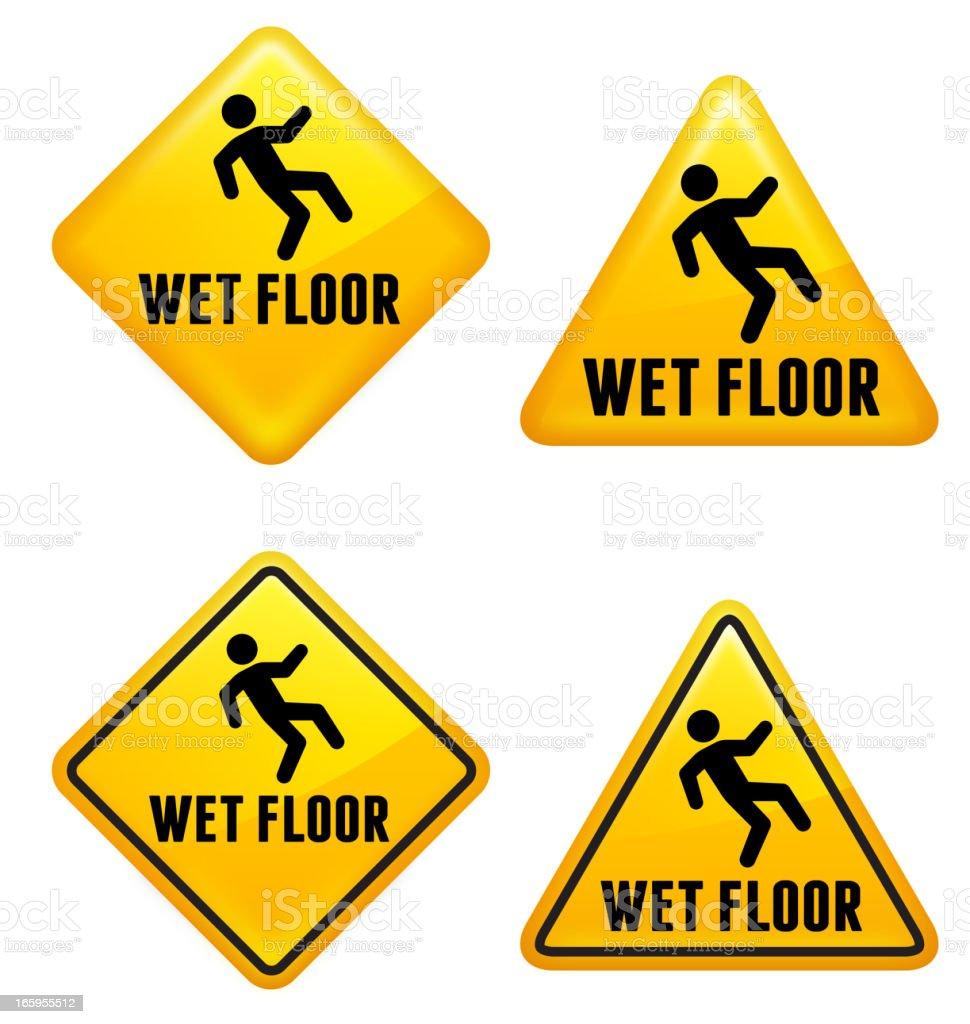 il pavimento bagnato attenzione cartello stradale illustrazione royalty free