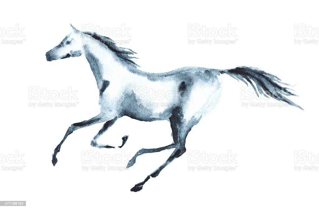Wet watercolor galloping horse vector art illustration