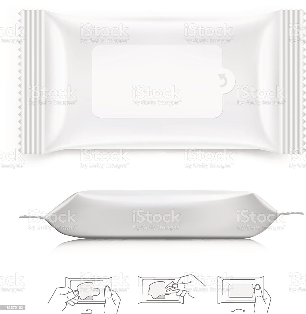 Wet wipes isolated on white background. Vector illustration vector art illustration