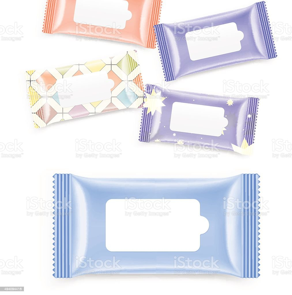 Wet wipes packing isolated on white background. Vector illustrat vector art illustration