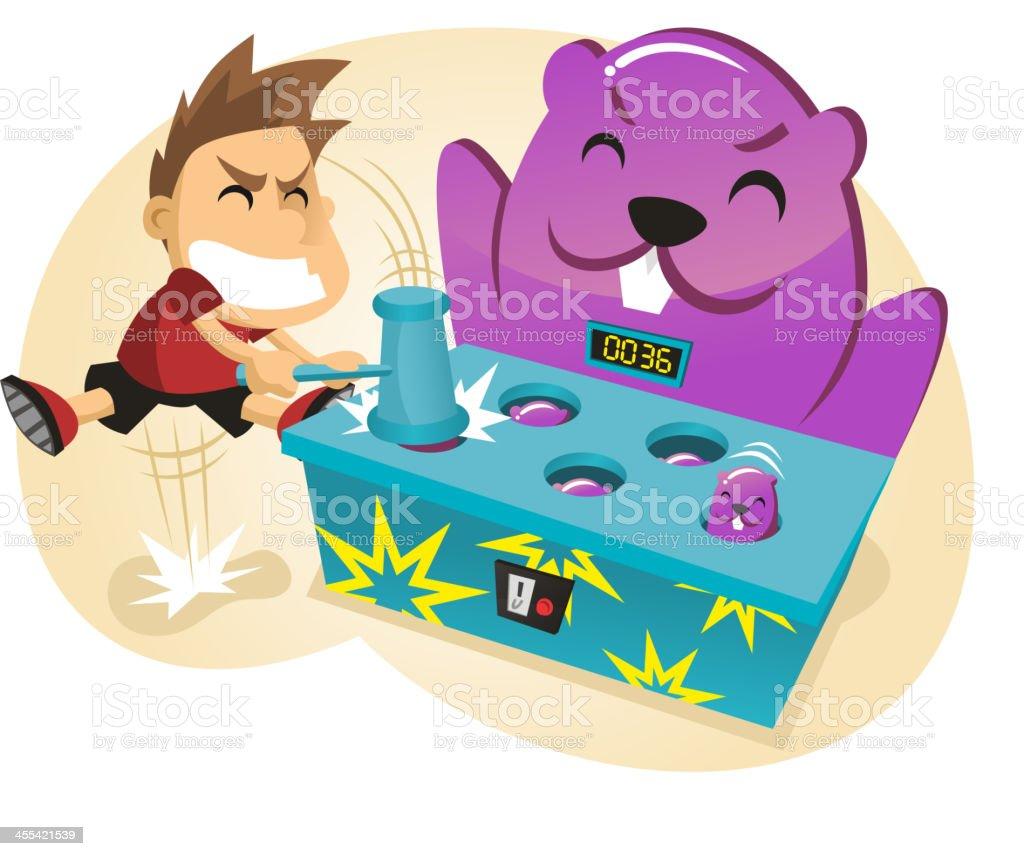 Whac-a-Mole Amusement Park Game royalty-free stock vector art