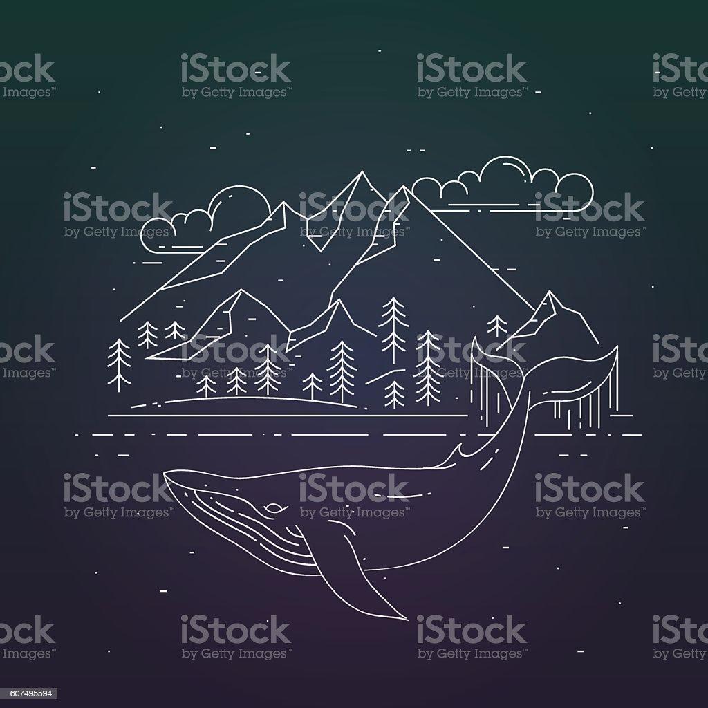 Whale and mountains landsape on dark background. vector art illustration