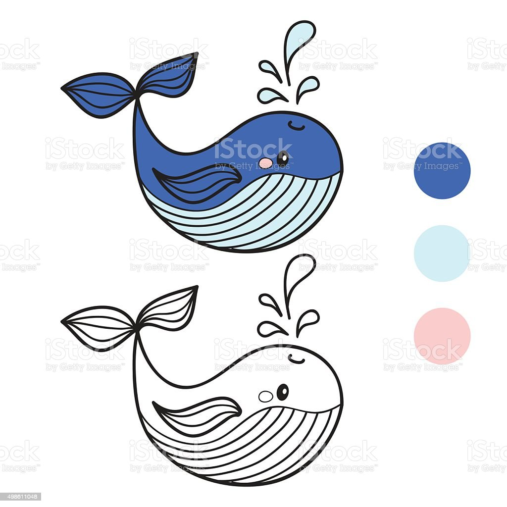 whale coloring book page cartoon vector illustration game for
