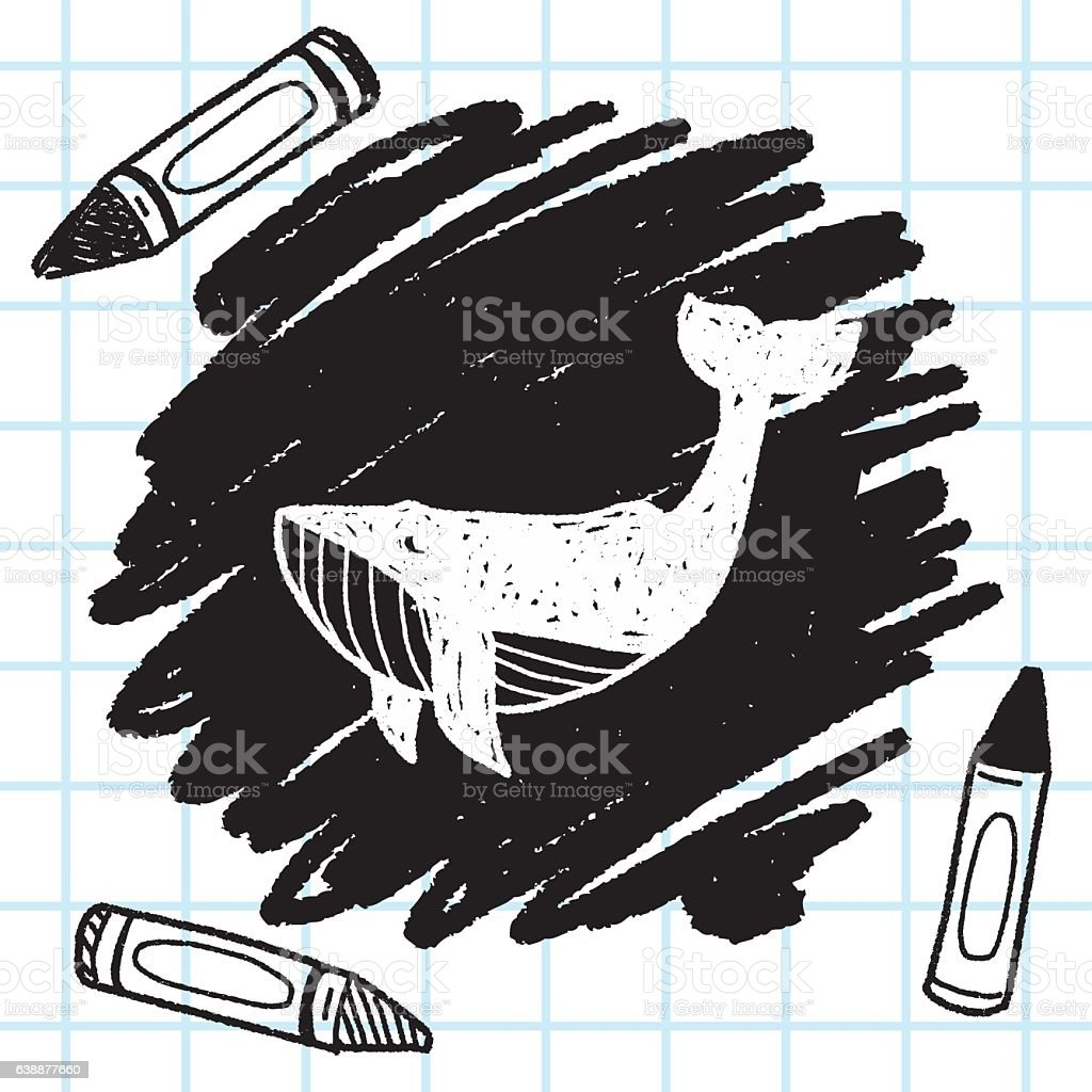 whale doodle vector art illustration