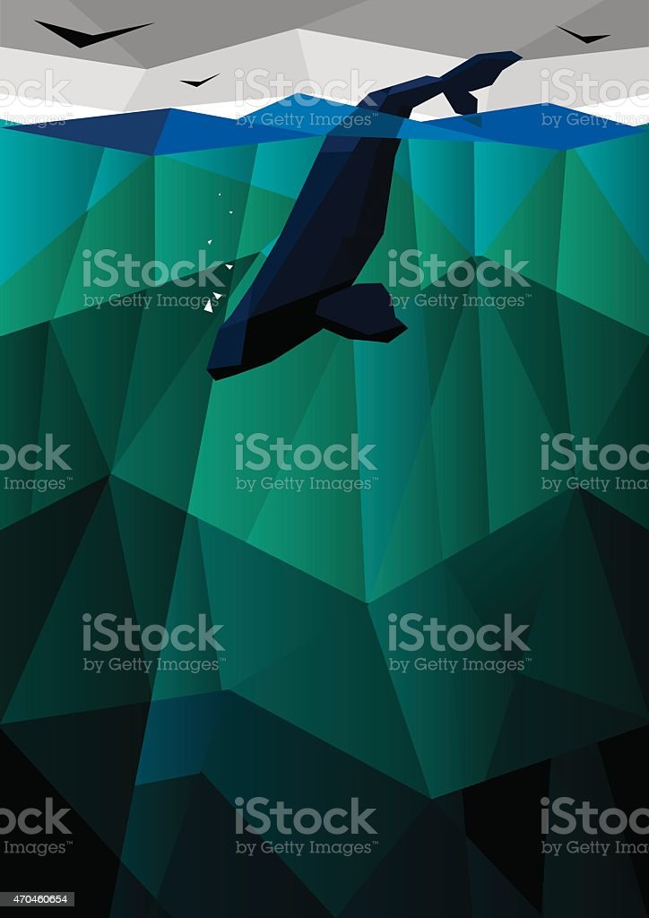 Whale in the sea vector art illustration