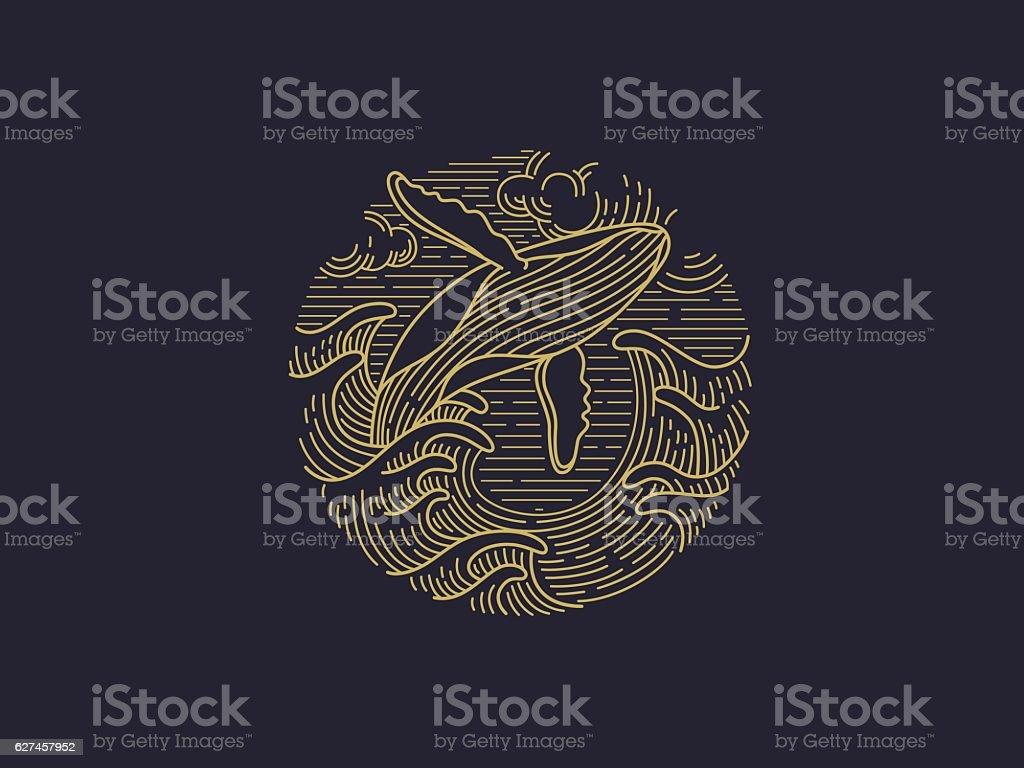 whale logo vector art illustration