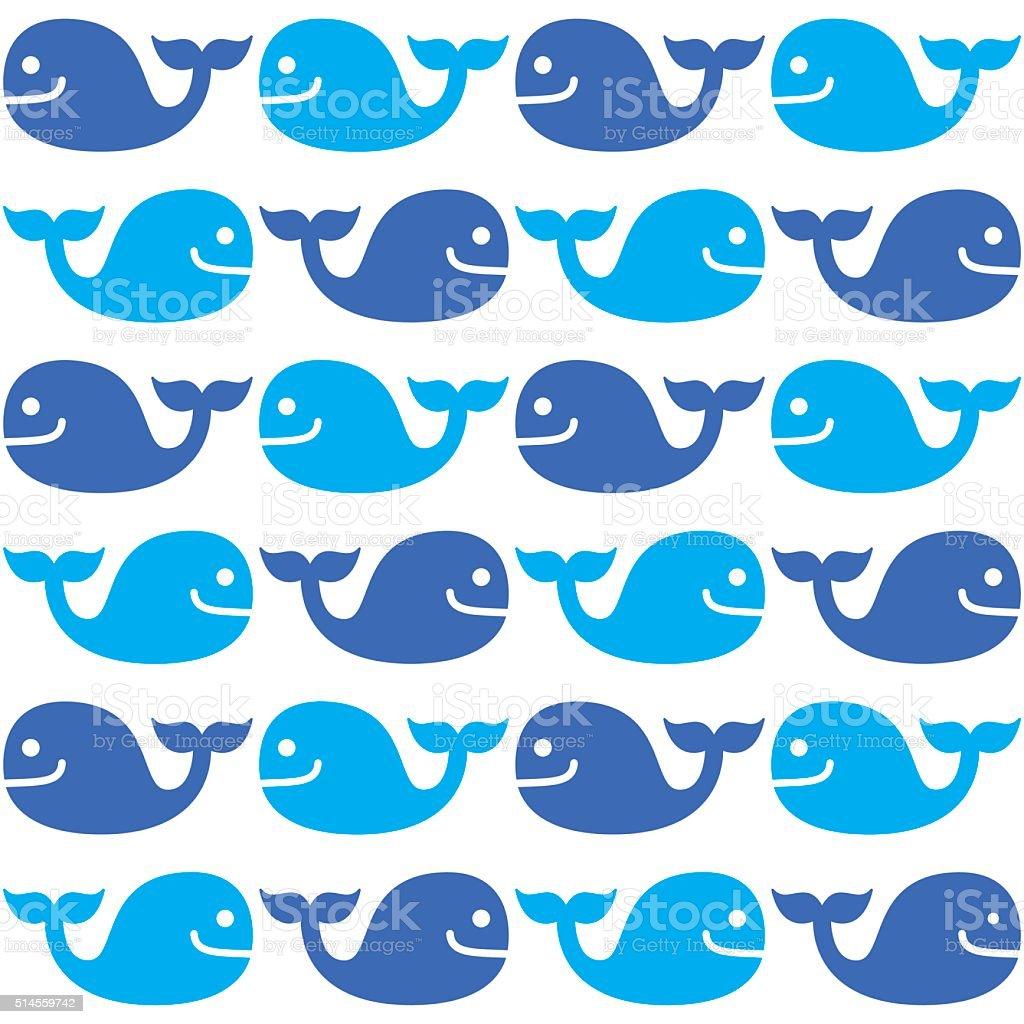 Whale seamless blue pattern on white vector art illustration