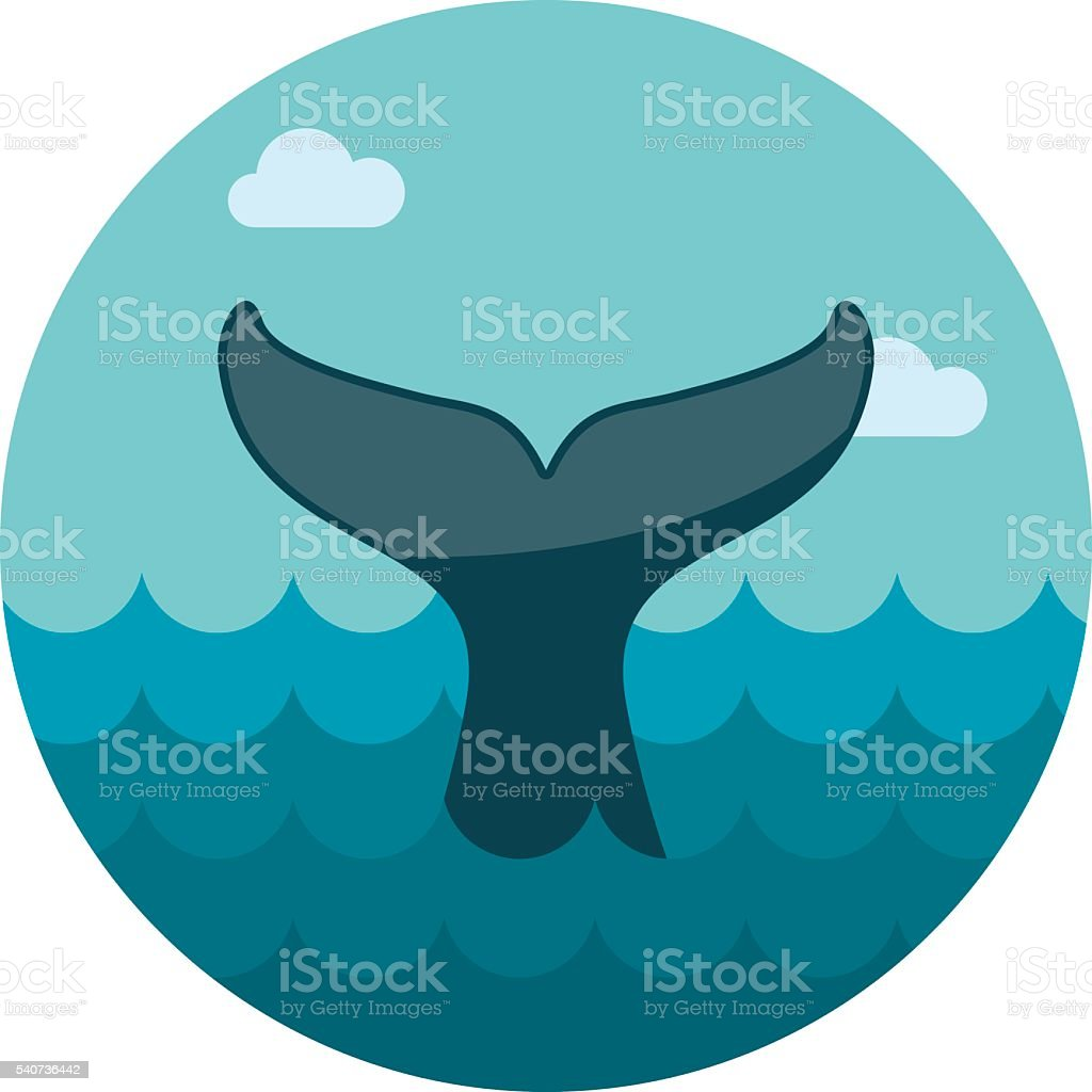 Whale tail icon. Summer. Vacation vector art illustration