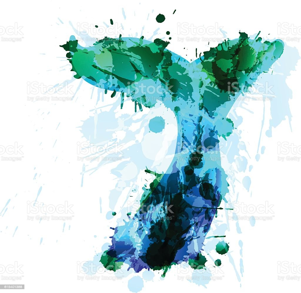 Whale tale made of colorful grunge splashes vector art illustration