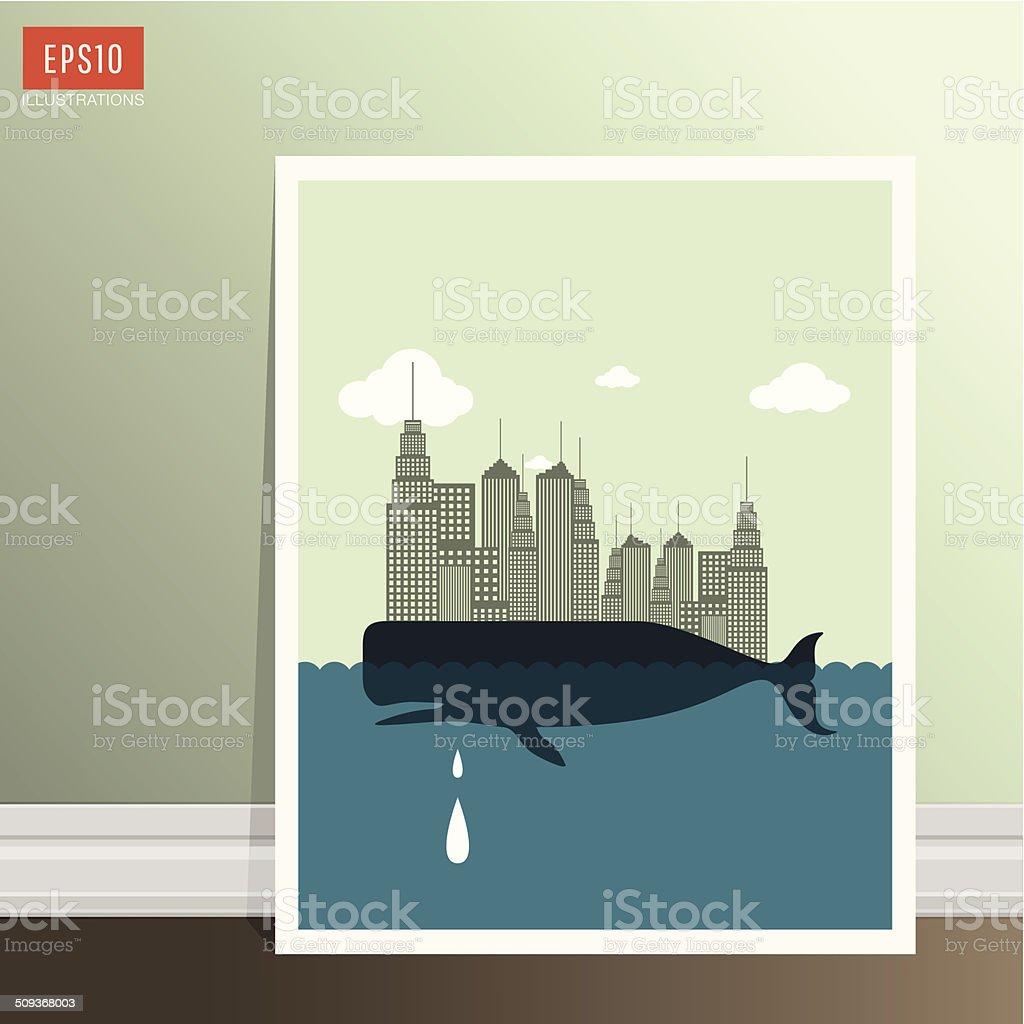 Whale vector art illustration