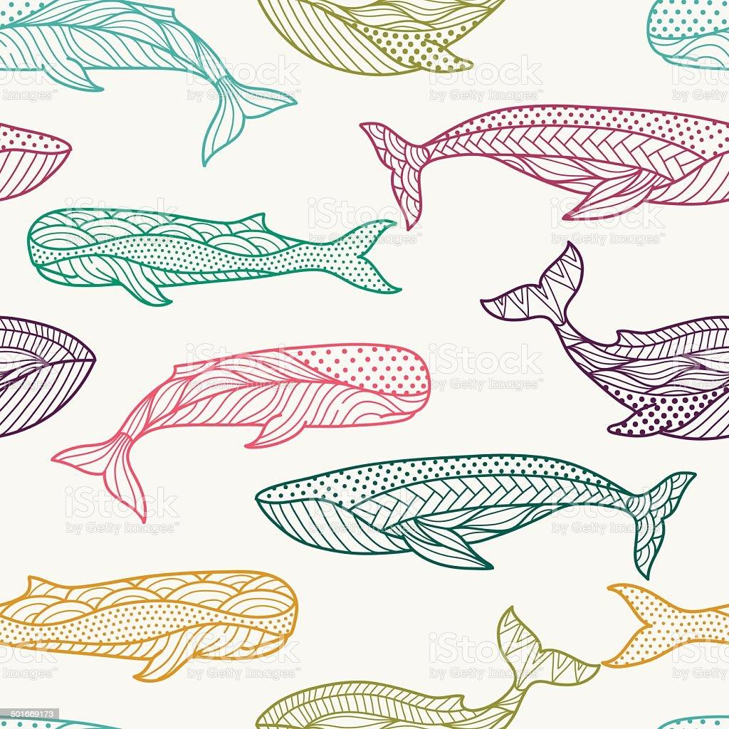 Whales seamless pattern vector art illustration