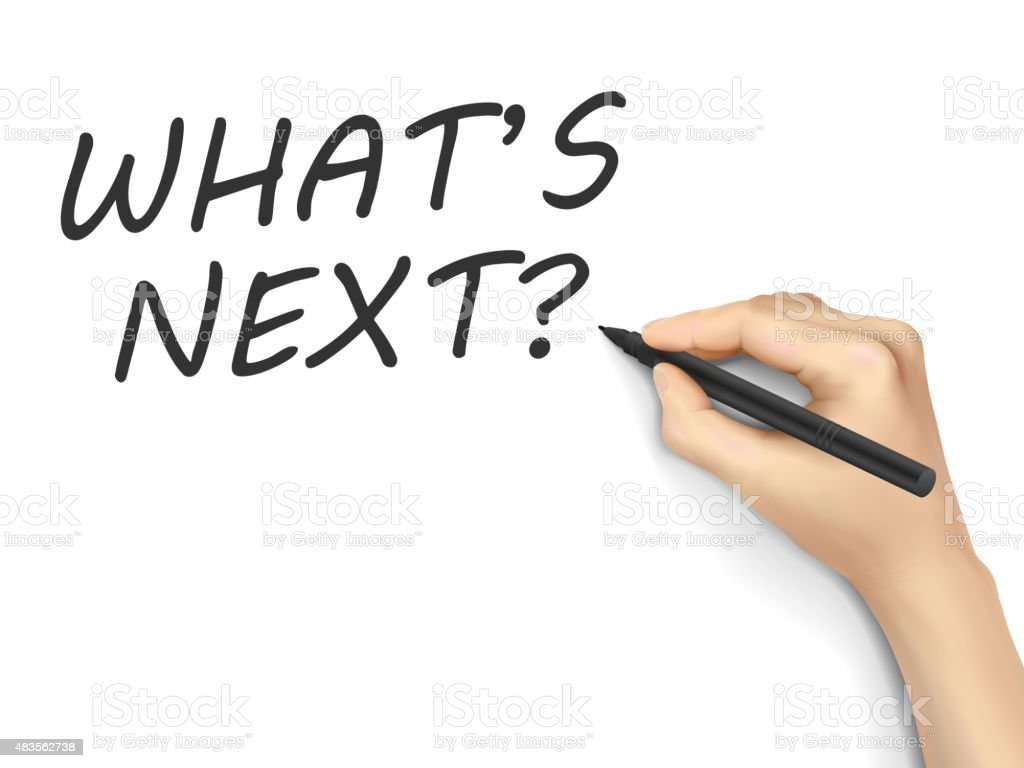 what is next words written by hand vector art illustration