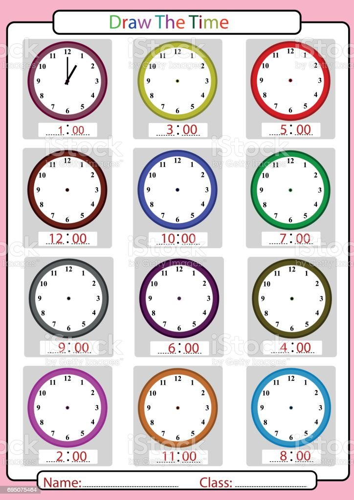 what is the time, draw the hands, worksheet for kids vector art illustration