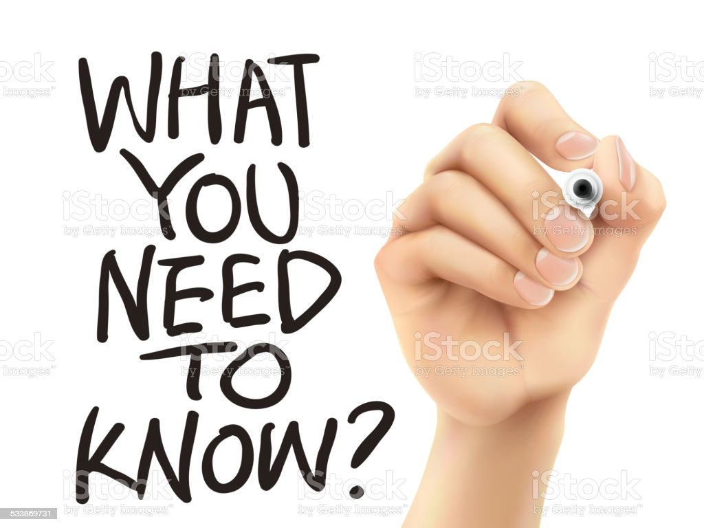 What you need to know written by hand vector art illustration