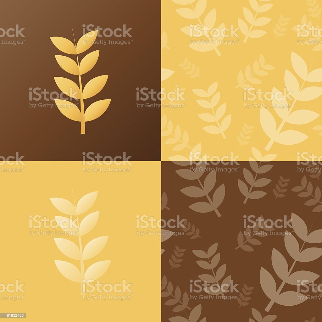 Wheat and seamless pattern royalty-free stock vector art