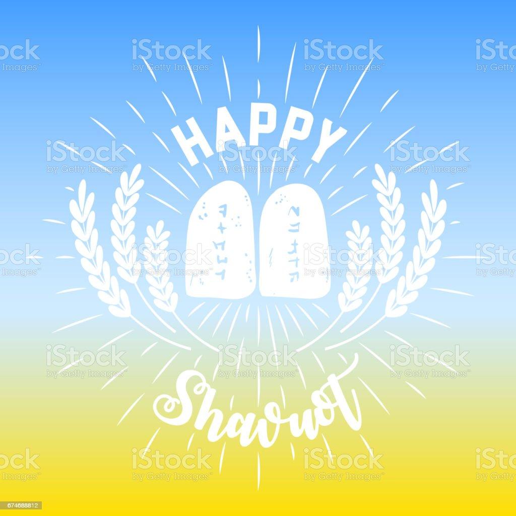Wheat and Ten Commandments. Concept of Judaic holiday Shavuot. Happy Shavuot. Israel holiday vector art illustration