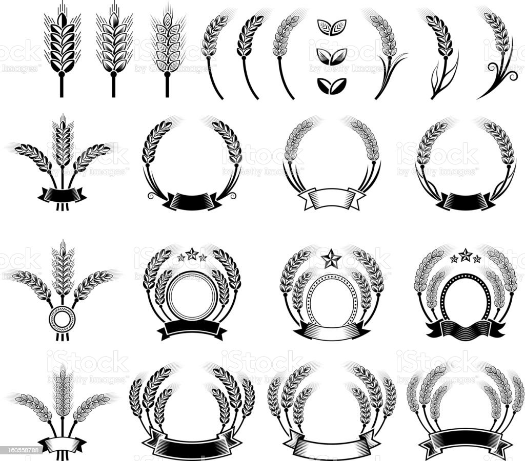 Wheat Barley Wreath black and white vector icon set vector art illustration