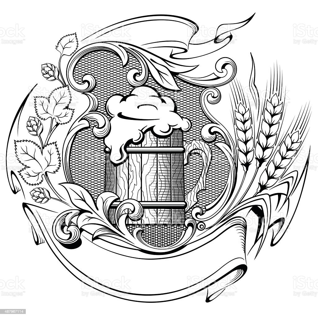 Wheat beer mug hops vector illustration vector art illustration