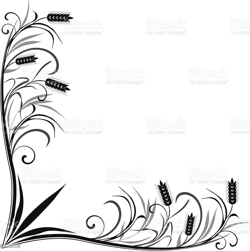 Wheat corner frame royalty-free stock vector art