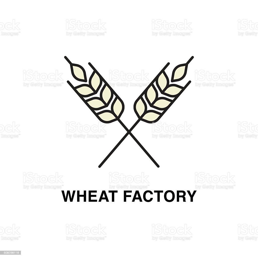 Wheat factory vector art illustration