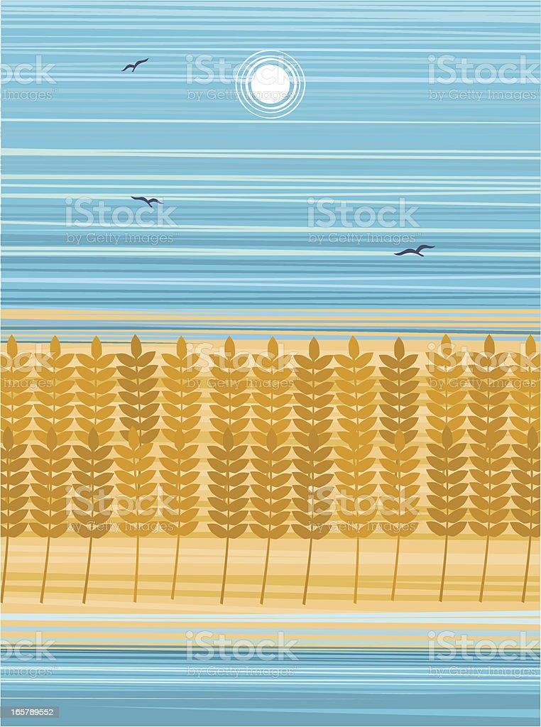Wheat Field On Sumer Day vector art illustration
