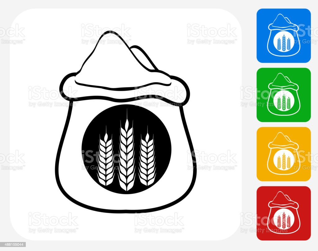Wheat Flour Bag Icon Flat Graphic Design vector art illustration