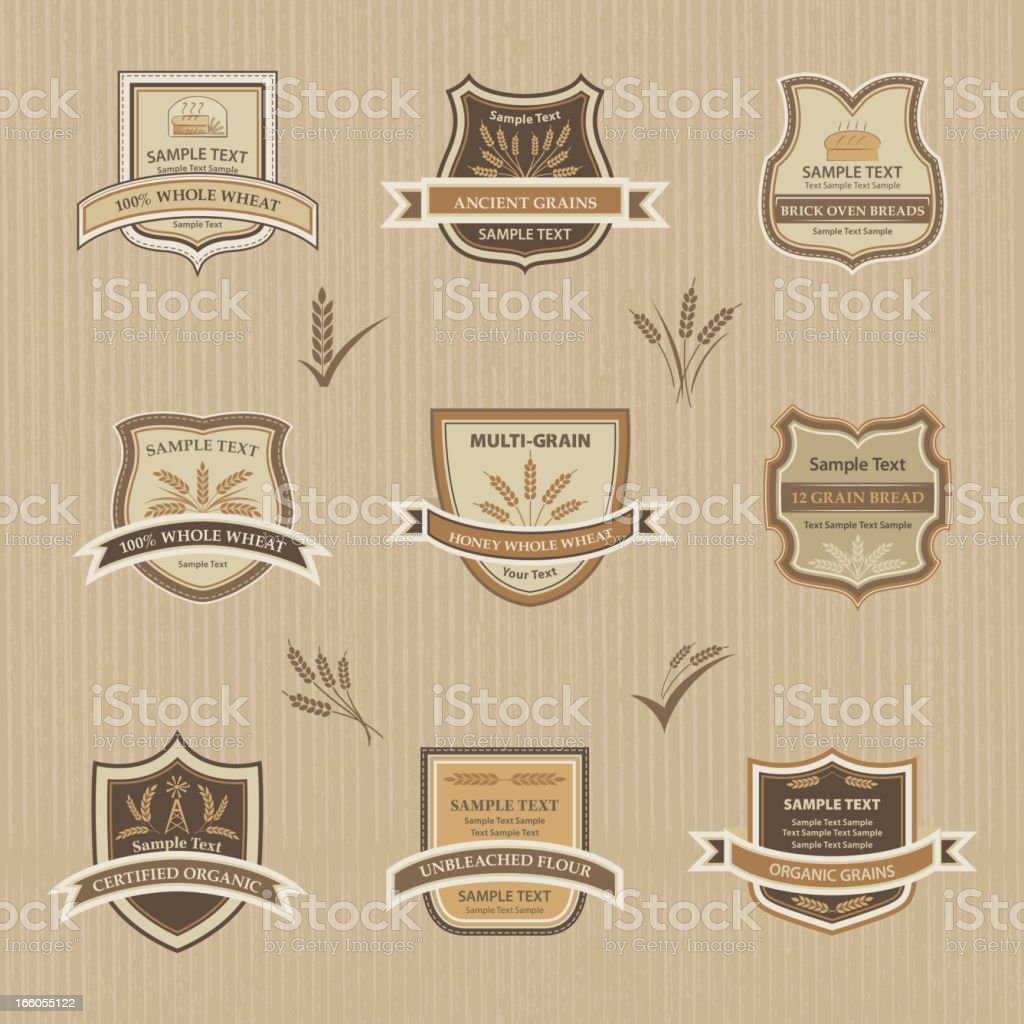 Wheat & Grain Labels On Textured Background royalty-free stock vector art