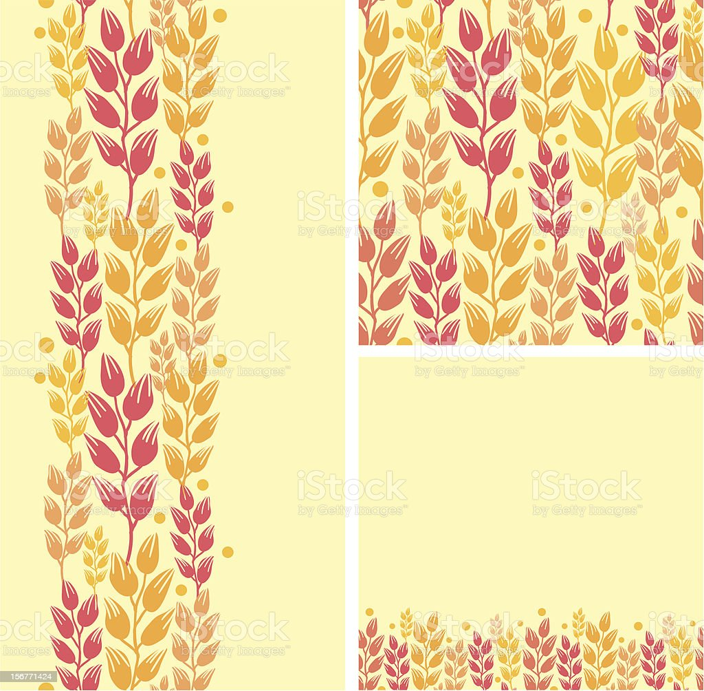Wheat Grain Seamless Patterns Set royalty-free stock vector art