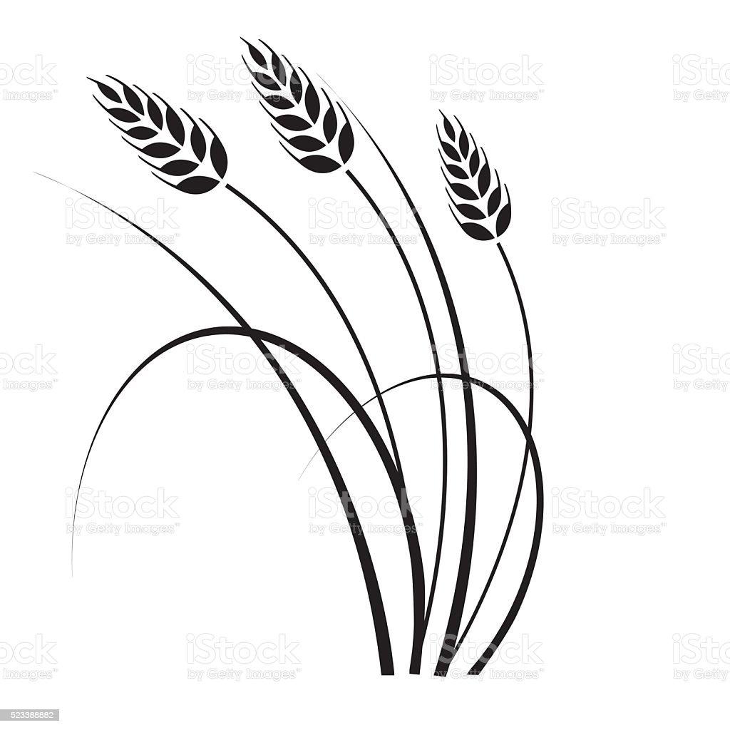 Wheat in the wind vector art illustration