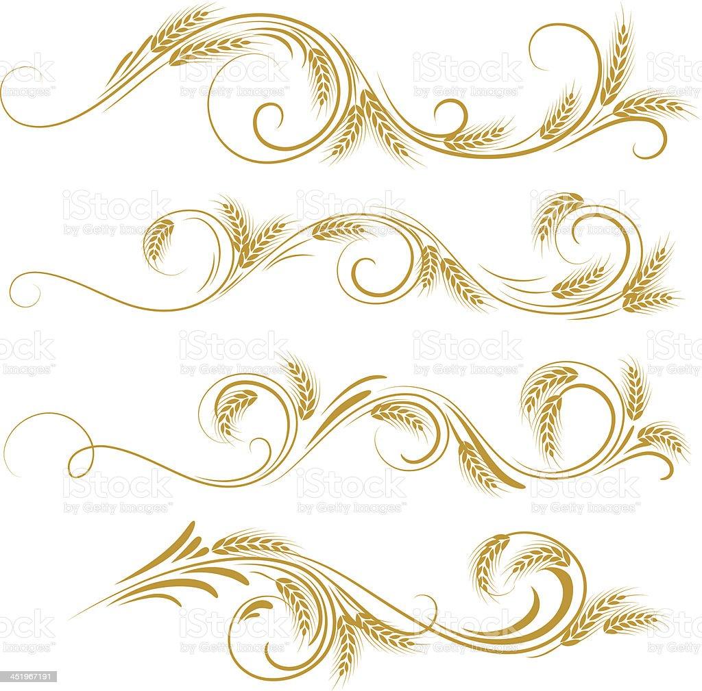 wheat ornament vector art illustration