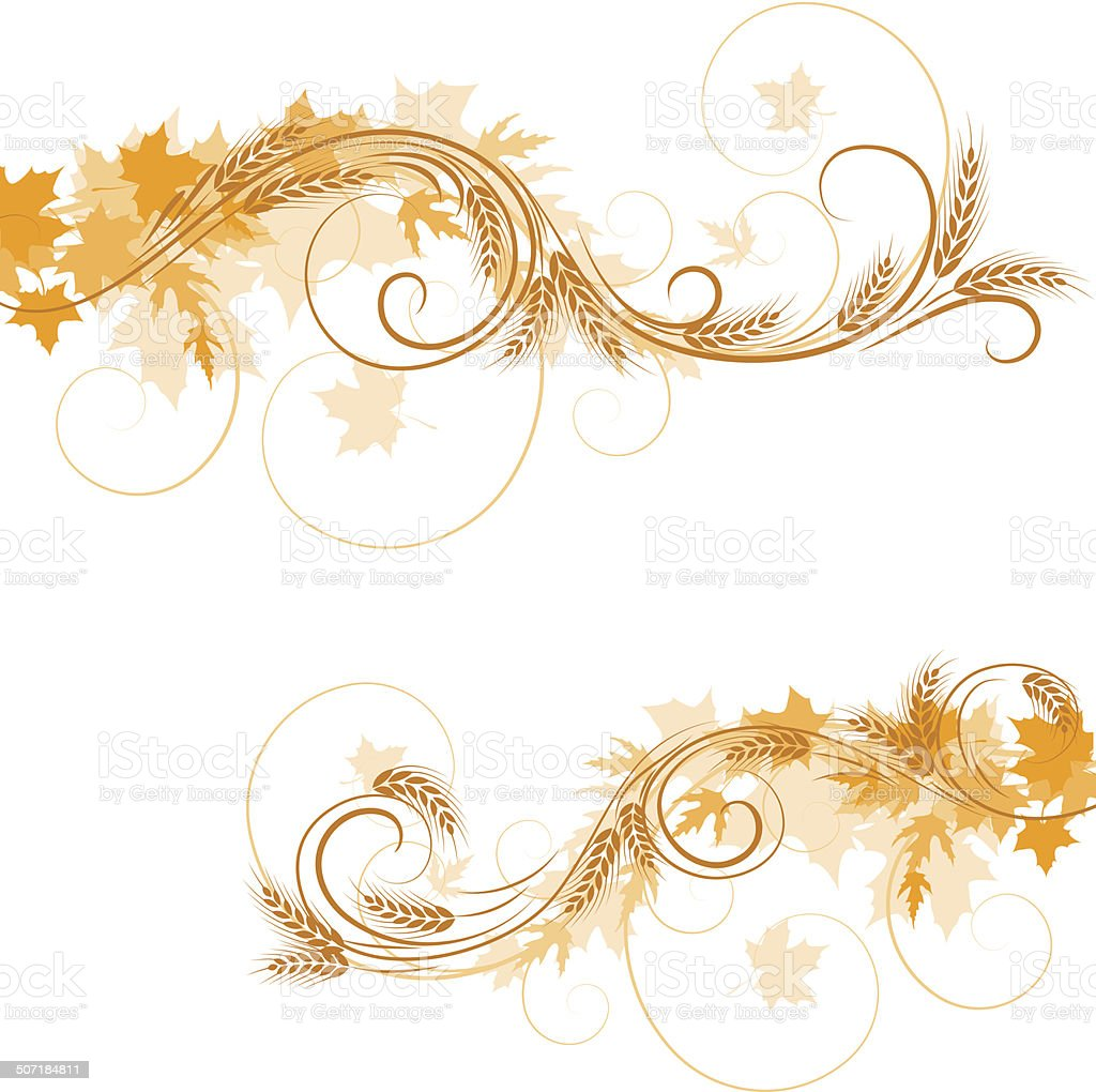 Wheat ornament vector art illustration