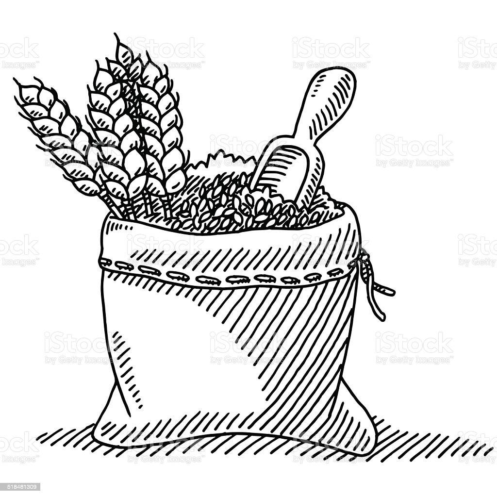 Wheat Plant Grain Sack Drawing vector art illustration