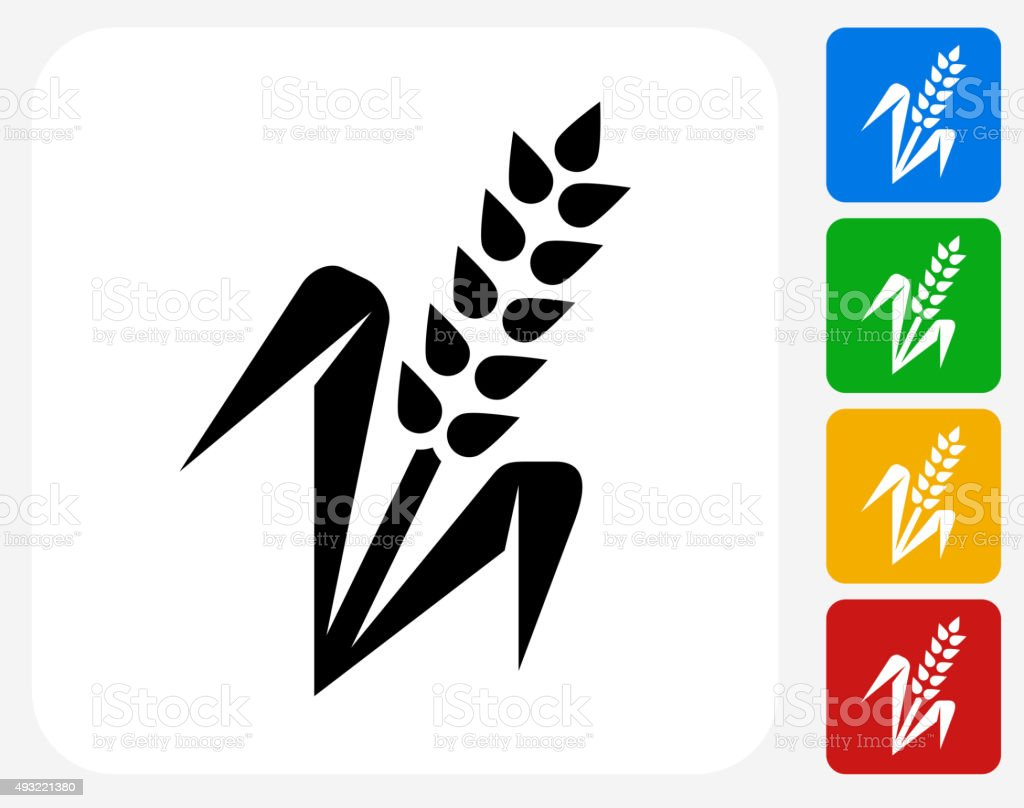 Wheat Plant Icon Flat Graphic Design vector art illustration