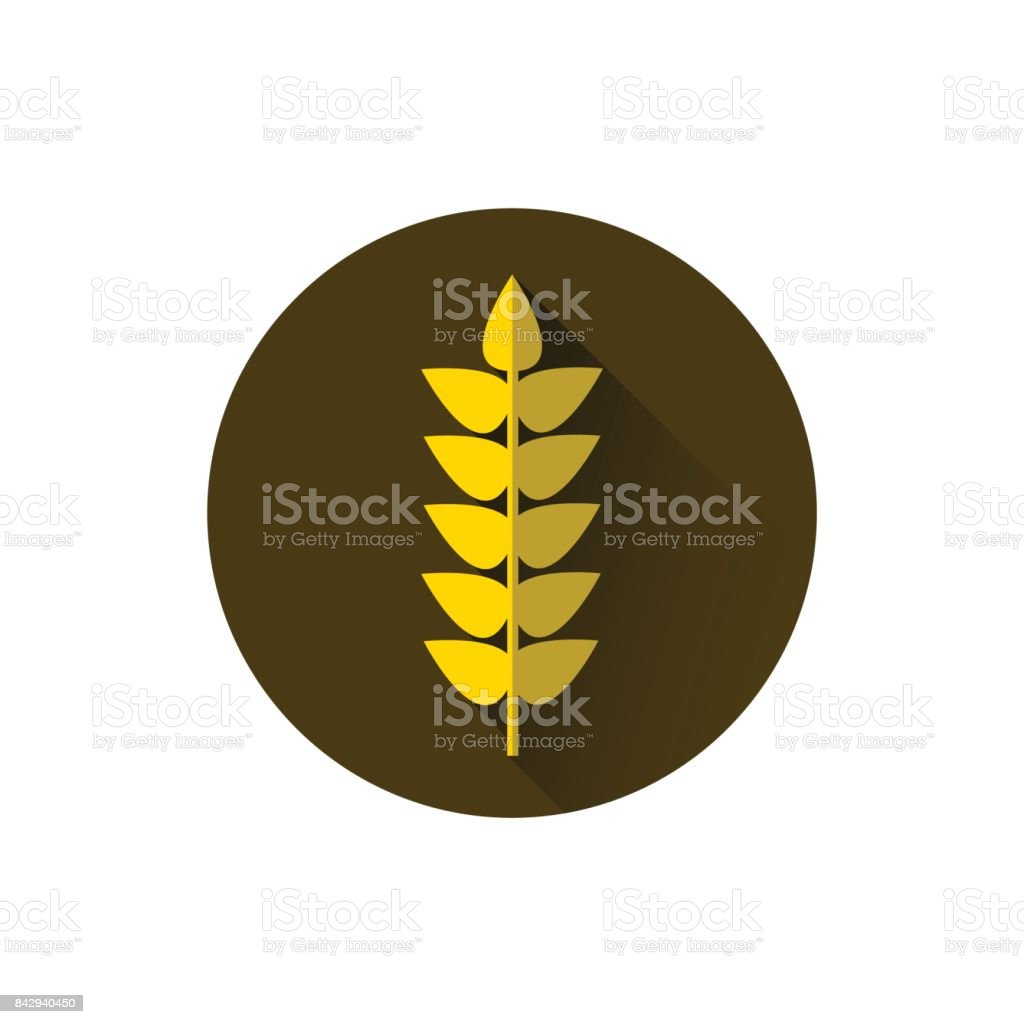 Wheat Spike Icon Ripe Crop Grain vector art illustration