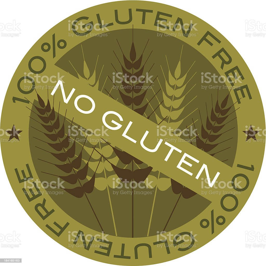 Wheat Stalk 100% Gluten Free Label Vector Illustration vector art illustration
