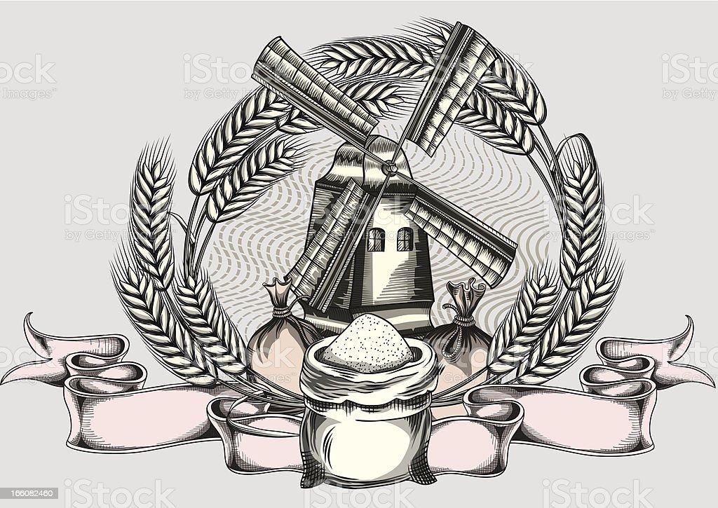 Wheat & windmill emblem vector art illustration