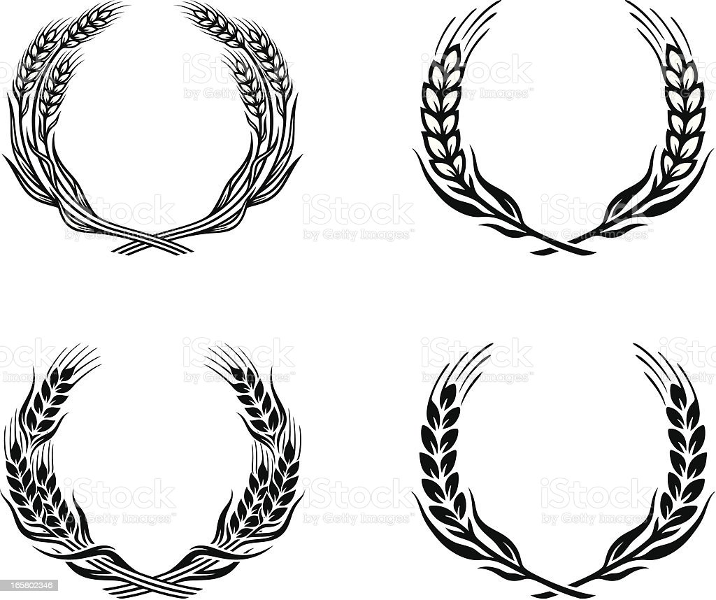 wheat wreath vector art illustration