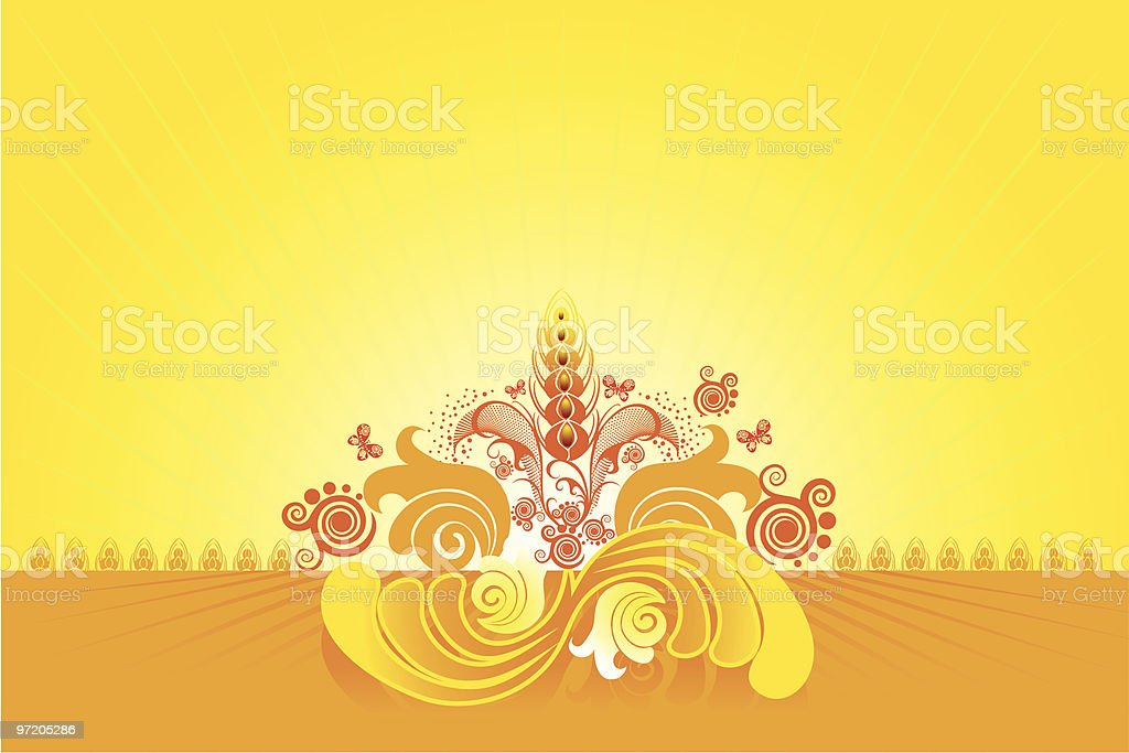 Wheaten field on a background of the solar sky royalty-free stock vector art