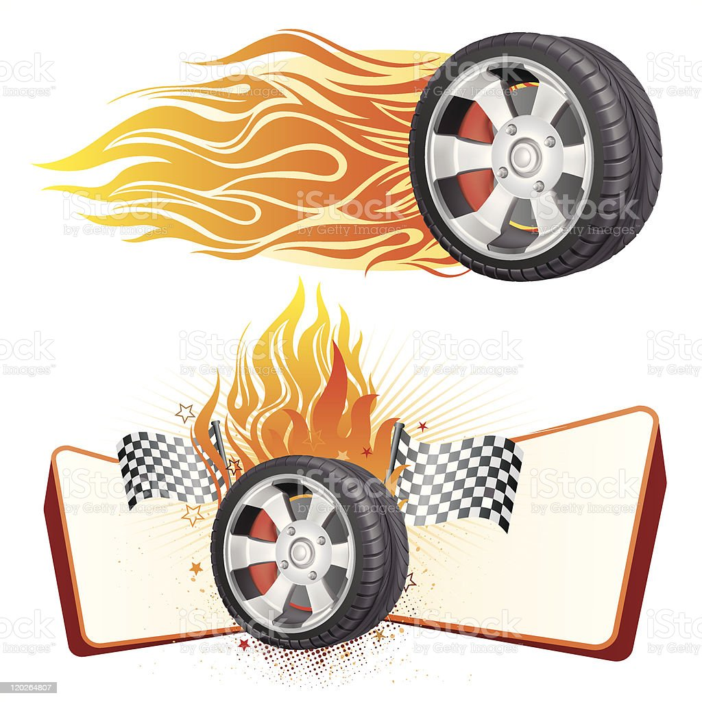 wheel and flame vector art illustration